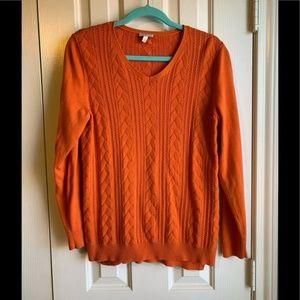 Talbot Orange Cable Knit Sweater Medium